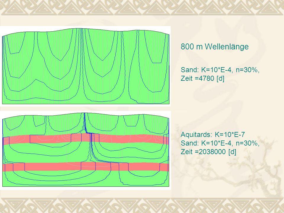 800 m Wellenlänge Sand: K=10*E-4, n=30%, Zeit =4780 [d]
